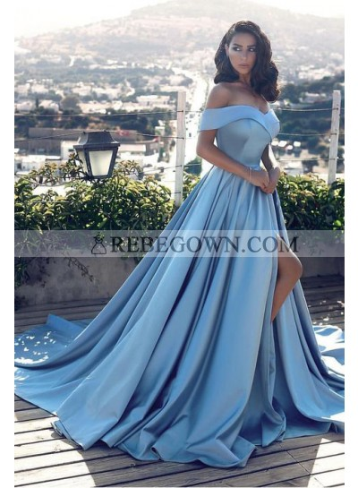 2021 Elegant Princess/A-Line Blue Sweetheart Satin Side Slit Off The Shoulder Prom Dresses