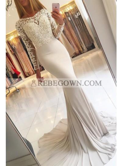 2021 Elegant Mermaid  Long Sleeves Prom Dresses With Appliques