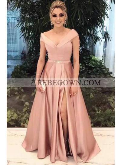2020 Cheap Princess/A-Line Pink Satin Side Slit Off The Shoulder Prom Dresses