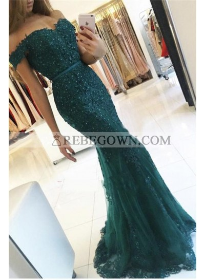 2021 Sexy Mermaid Dark Green Off The Shoulder Prom Dresses