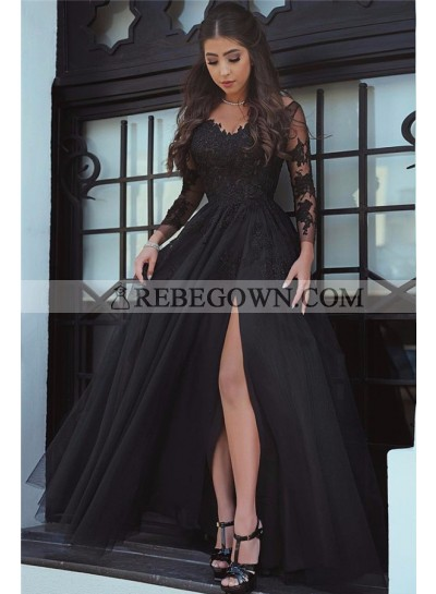 2020 Cheap Princess/A-Line Black Long Sleeves Tulle Prom Dresses