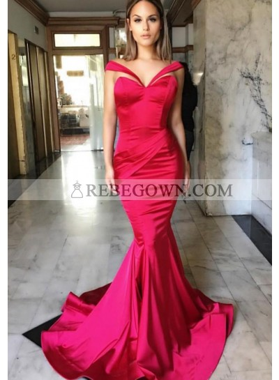 Mermaid Red Prom Dresses Satin Long Train