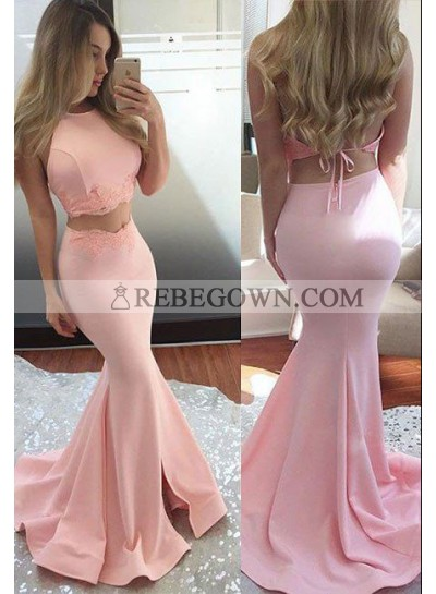2020 Charming Mermaid Two Pieces Satin Pink Prom Dresses