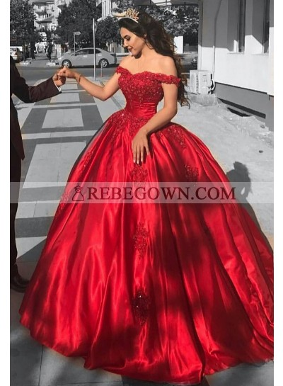 Ball Gown Off The Shoulder Red Satin Prom Dresses
