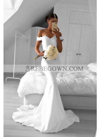 2021 Sexy Mermaid White Sweetheart Satin Prom Dresses