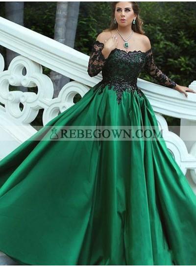 Off The Shoulder Satin Hunter Long Sleeves Prom Dresses