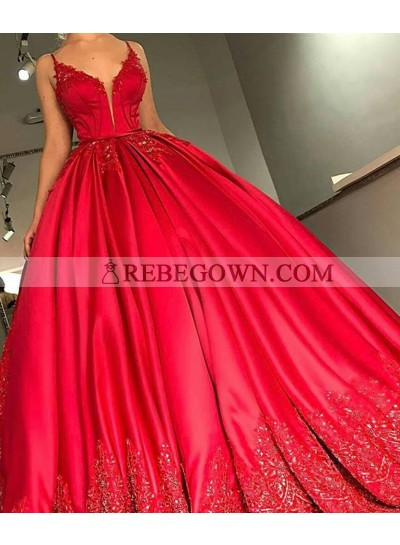 Red Sweetheart Ball Gown Prom Dresses With Appliques