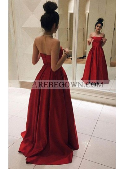 2021 Cheap Princess/A-Line Satin Strapless Red Prom Dresses