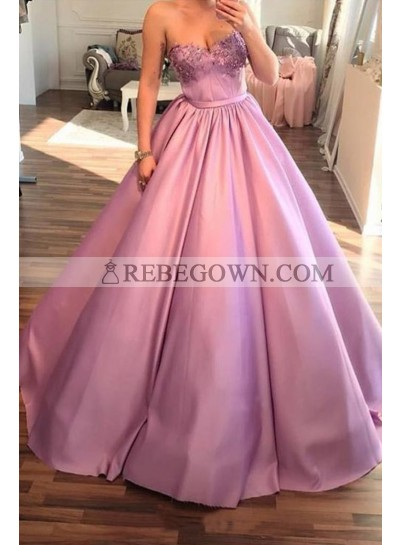 2021 Elegant Ball Gown Sweetheart Satin Pink Prom Dresses