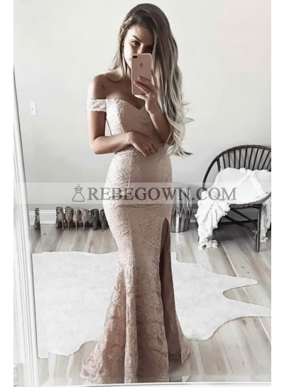 Sheath Lace Off The Shoulder Pearl Pink Prom Dresses