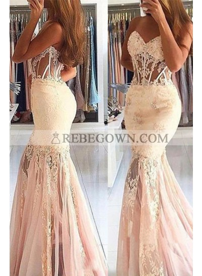 Pale Pink Tulle Sweetheart Mermaid  Prom Dresses With Appliques
