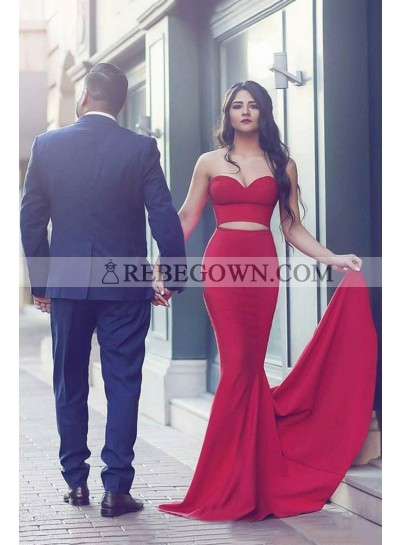 2021 Sexy Mermaid  Red Two Pieces Prom Dresses