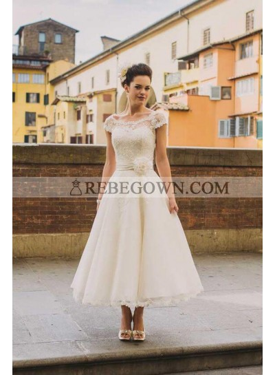 2020 A Line Lace Capped Sleeves Tea Length Wedding Dresses