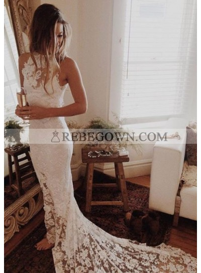 Sheath/Column 2021 Lace Backless Wedding Dresses