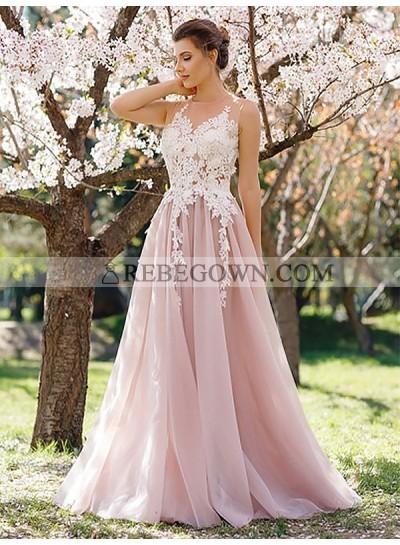 2021 Blushing Pink A-line Chiffon Appliques Prom Dresses