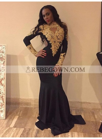 Black Mermaid  Long Sleeves High Neck Gold Appliques Backless Long Prom Dresses