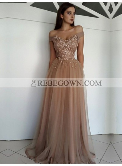 2021 A-Line Tulle Sweetheart Off The Shoulder Champagne Prom Dresses