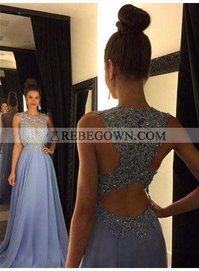 Long Floor length A-Line Beading Chiffon Prom Dresses Lavender