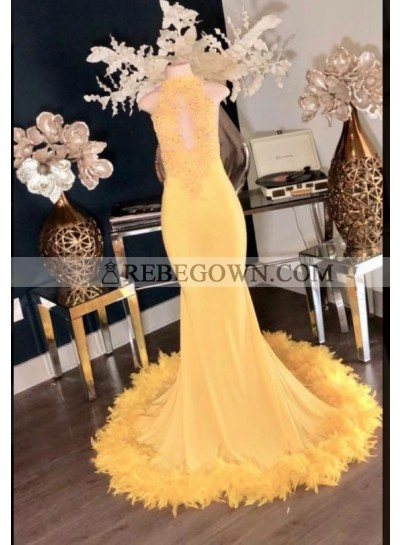 Charming Yellow High Neck Mermaid  Prom Dresses 2021