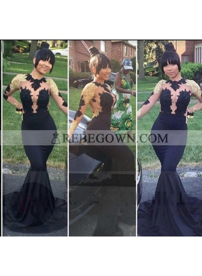 2020 Black Long Sleeves Mermaid  Long Satin Prom Dresses