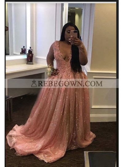 2020 Long Sleeve Sequence Blushing Pink Ball Gown Prom Dresses