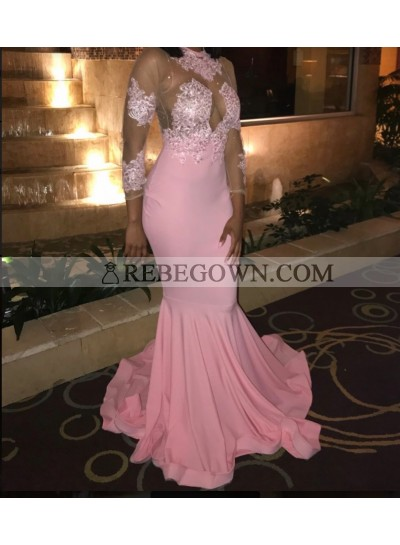2021 Pink Long Sleeve Appliques Mermaid  Satin Prom Dresses