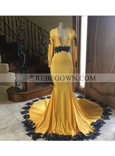 2020 Deep V-neck Long Sleeve Mermaid  Prom Dresses