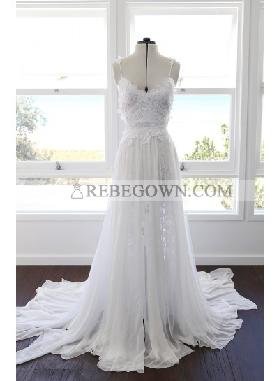 Cheap A Line Sweetheart Spaghetti Straps Side Slit Chiffon Lace Beach Wedding Dresses 2020