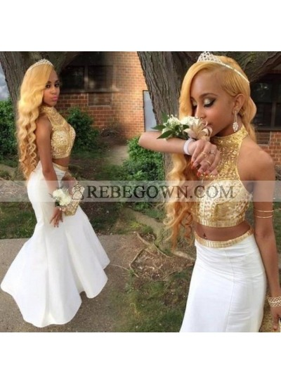2020 Cheap Mermaid  High Neck Two Pieces Gold and White Prom Dresses