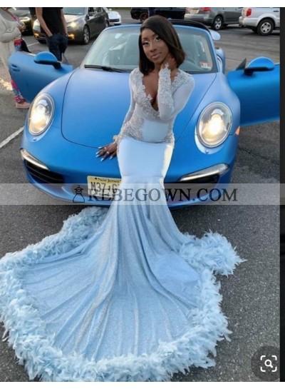 New Arrival Sky Blue Long Sleeves Satin Mermaid Prom Dress 2020