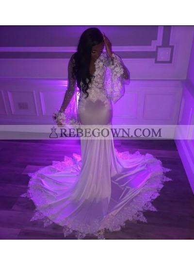 White Mermaid 2021 Long Sleeve Prom Dresses