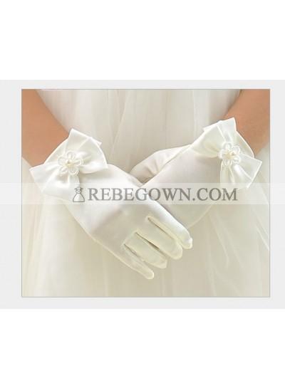 White Butterfly First Holy Communion Girl's Short Gloves Princess Gloves Flower Girl Gloves