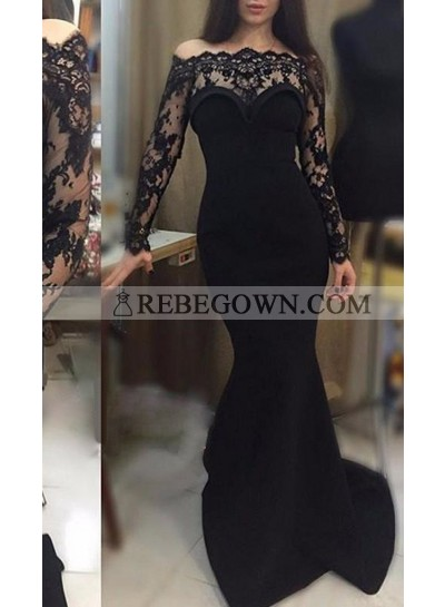 2020 Junoesque Black Lace Long Sleeve Scalloped Neck Mermaid Prom Dresses