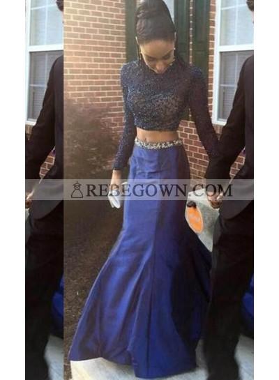 rebe gown 2020 Blue Chapel Train Mermaid Taffeta Two Pieces Prom Dresses