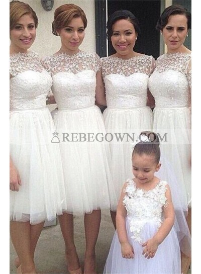 2020 New Arrival A Line Tulle White Short Bridesmaid Dresses / Gowns