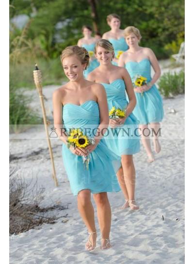 2020 Cheap A Line Chiffon Blue Ruffles Sweetheart Short Bridesmaid Dresses / Gowns