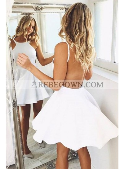 Cute Satin Backless White Short Prom Dresses