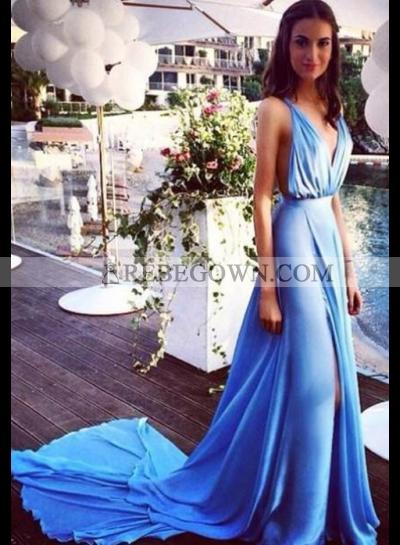 rebe gown 2020 Blue Front-Slit Spaghetti Straps Chiffon Prom Dresses