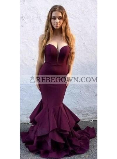 2021 Sexy Satin Grape Sweetheart Mermaid 2021 Cheap Prom Dresses