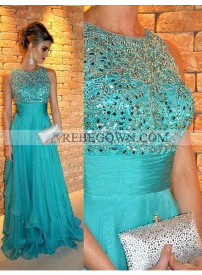 Beading A-Line Chiffon Prom Dresses rebe gown 2020 Blue