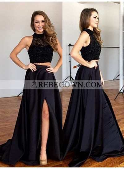 rebe gown 2020 Blue Beading Top A-Line Split Satin Two Pieces Prom Dresses