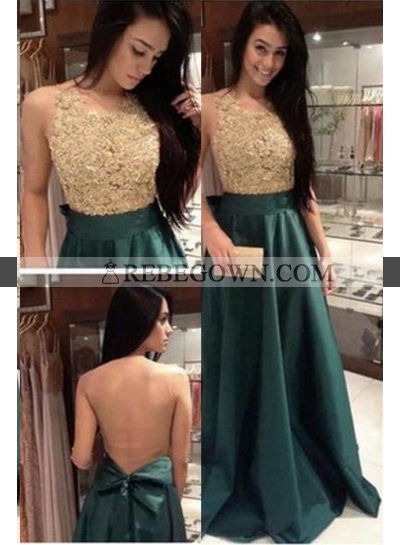 Beading A-Line Satin Prom Dresses Dark Green