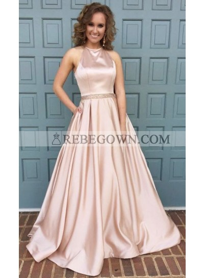 2020 Siren Princess/A-Line Pink Satin 2020 Cheap Prom Dresses