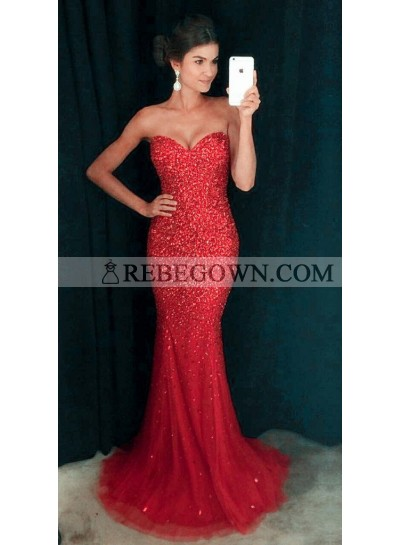 2021 Siren Red Mermaid Tulle Sequence Prom Dresses