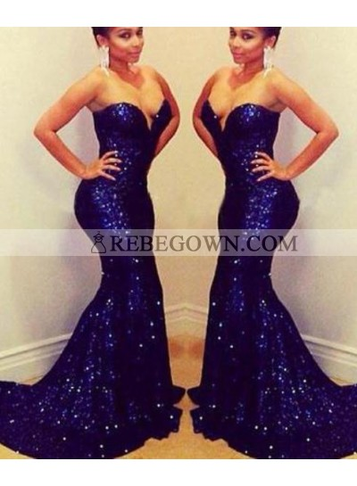 rebe gown 2021 Blue Long Floor length Sweetheart Mermaid Sequined Prom Dresses