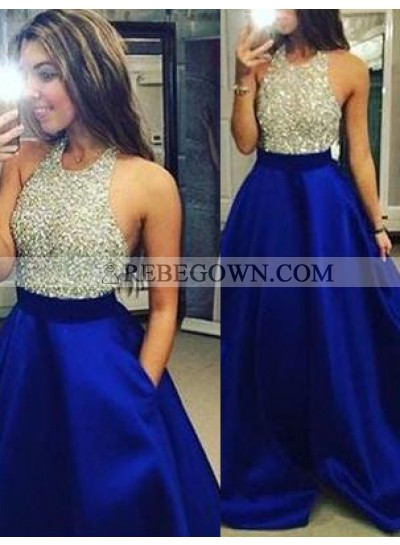 rebe gown 2021 Blue Beading Halter A-Line Satin Prom Dresses
