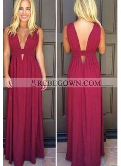 Burgundy Long Floor length V-Neck A-Line Chiffon Prom Dresses