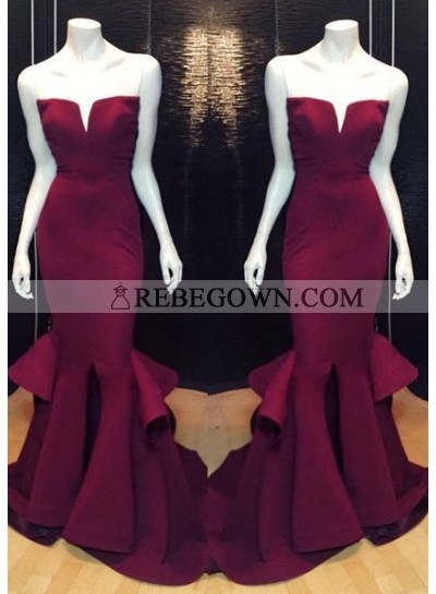 Burgundy Prom Dresses Mermaid Notched Neck Satin