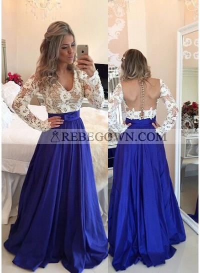 Royal Blue Prom Dresses A-Line V-Neck Backless Taffeta