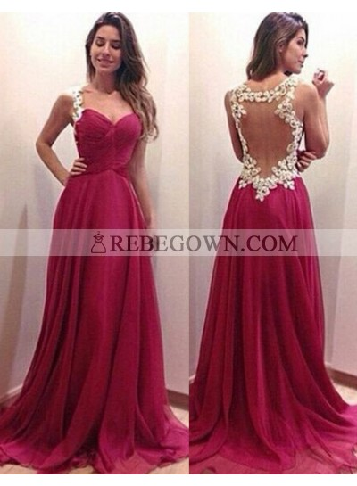 2020 Gorgeous Red Prom Dresses A-Line Straps Chiffon Embroidery